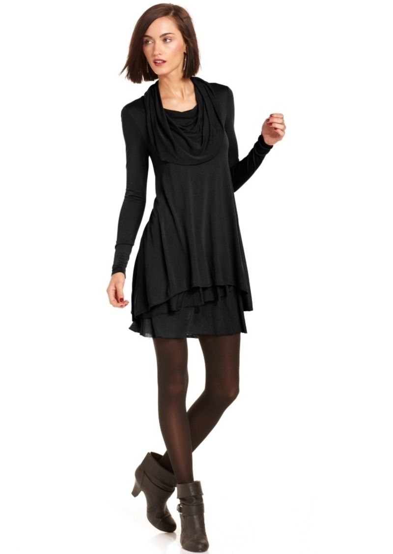 kensie Long-Sleeve Cowl-Neck T-Shirt Dress