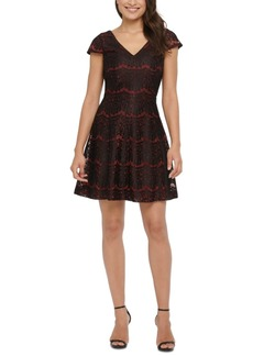 kensie Metallic Lace Fit & Flare Dress