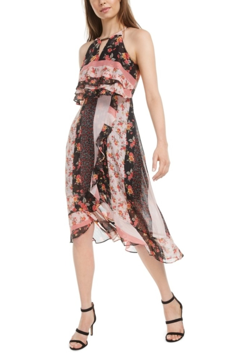 kensie Mixed-Print High-Low Dress