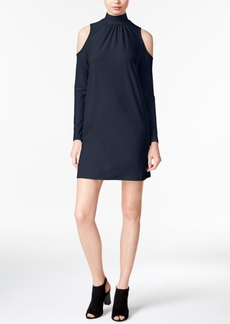 kensie Mock-Neck Cold-Shoulder Shift Dress, A Macy's Exclusive