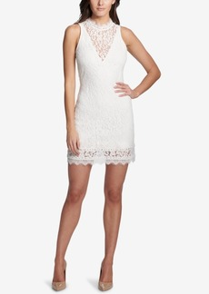 kensie Mock-Neck Illusion Lace Dress