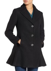 kensie Notch Lapel Peplum Coat