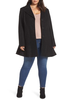 kensie Notch Lapel Peplum Coat (Plus Size)