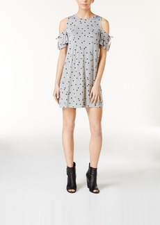kensie Polka-Dot Cold-Shoulder Dress