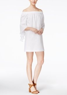 kensie Oxford Cotton Off-The-Shoulder Dress