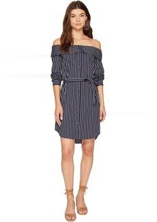 kensie Oxford Stripe Off Shoulder Shirting Dress KS8K9673