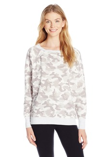 kensie Performance Women's Camo-Print Sweatshirt with Zipper Detail Light Combo