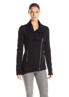 Kensie Performance Women's Ponte Knit Asymmetrical Zip Jacket