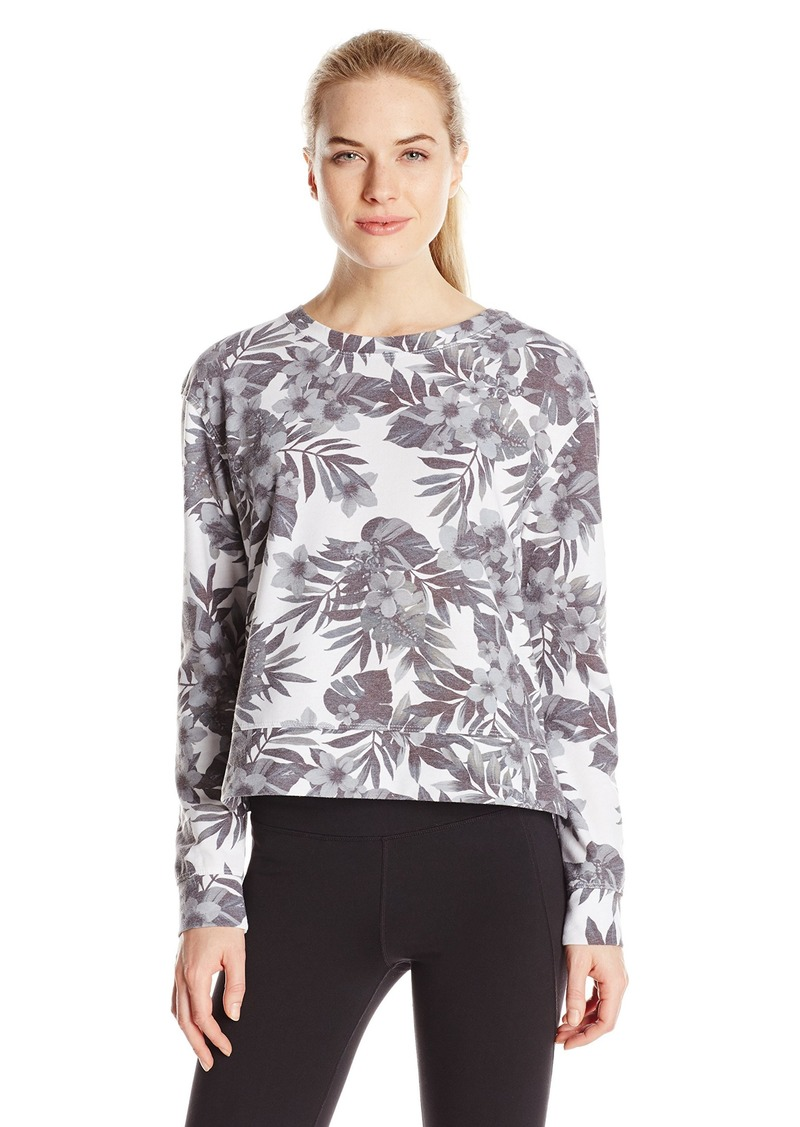 kensie Performance Women's Print Knit Top with Woven Shirtail Hem