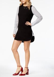 kensie Pinstripe-Contrast Sweater Dress
