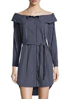 kensie Pinstripe Off-the-Shoulder Long-Sleeve Mini Dress
