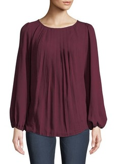 kensie Pleated Chiffon Blouse