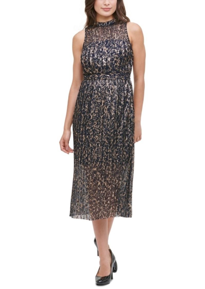 kensie Pleated Mesh Dress