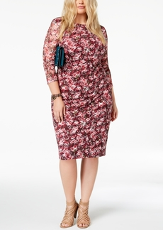 kensie Plus Size Stretch Floral Sheath Dress