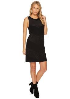 Kensie Ponte Dress with Faux Suede Detail KSNK9886