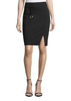kensie Ponte Grommet-Pocket Skirt