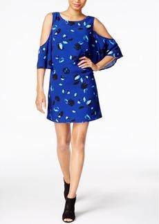 kensie Printed Cold-Shoulder Dress
