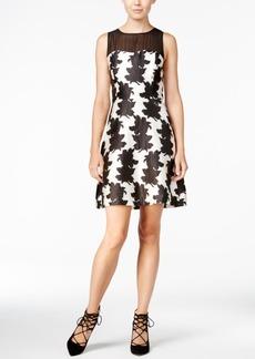 kensie Printed Contrast Fit & Flare Dress