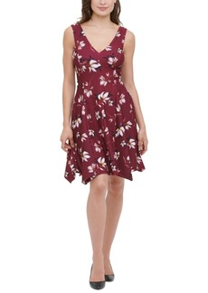 kensie Printed Handkerchief-Hem Fit & Flare Dress