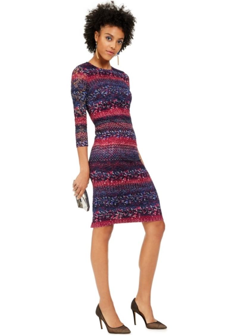 kensie Printed Lace Midi Bodycon Dress