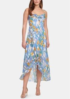kensie Printed Ruffle-Trim A-Line Dress