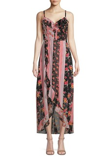 Kensie Printed Ruffle-Trim Chiffon Midi Dress