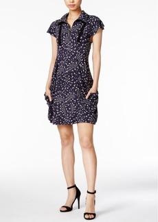 kensie Printed Zippered-Neck Dress