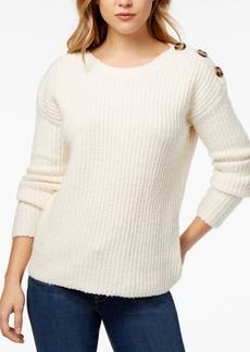 kensie Punk-Yarn Button-Detail Sweater