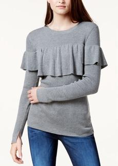 kensie Ribbed Flounce Sweater