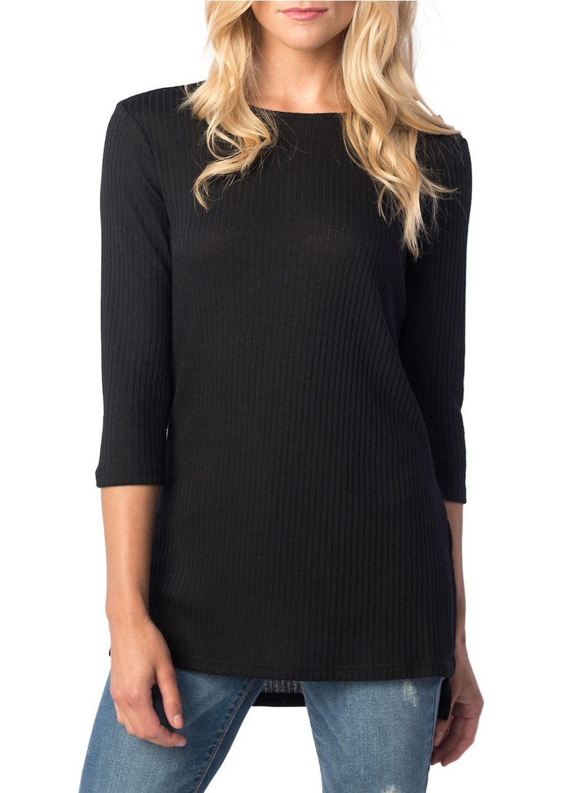 KENSIE Ribbed Three-Quarter Sweater