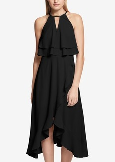 kensie Ruffle Popover Halter Dress