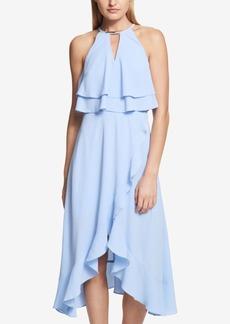 kensie Ruffle Popover Halter Dress