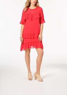 kensie Ruffled Chiffon Dress