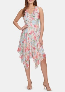 kensie Ruffled Handkerchief-Hem Dress