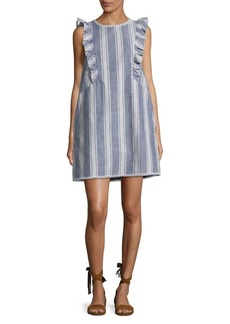 Kensie Ruffled-Shoulder Stripe Cotton Dress