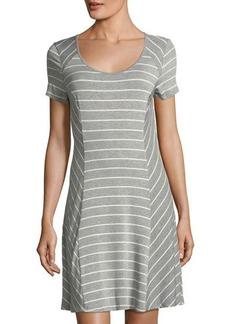 kensie scoop-neck short-sleeve striped jersey dress