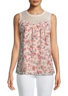 kensie Secret Garden Crochet-Yoke Floral Tank