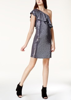 Kensie Sequined One-Shoulder Shift Dress