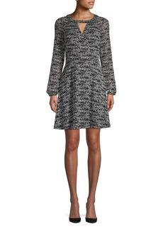 Kensie Dresses Sheer Graphic Shift Dress