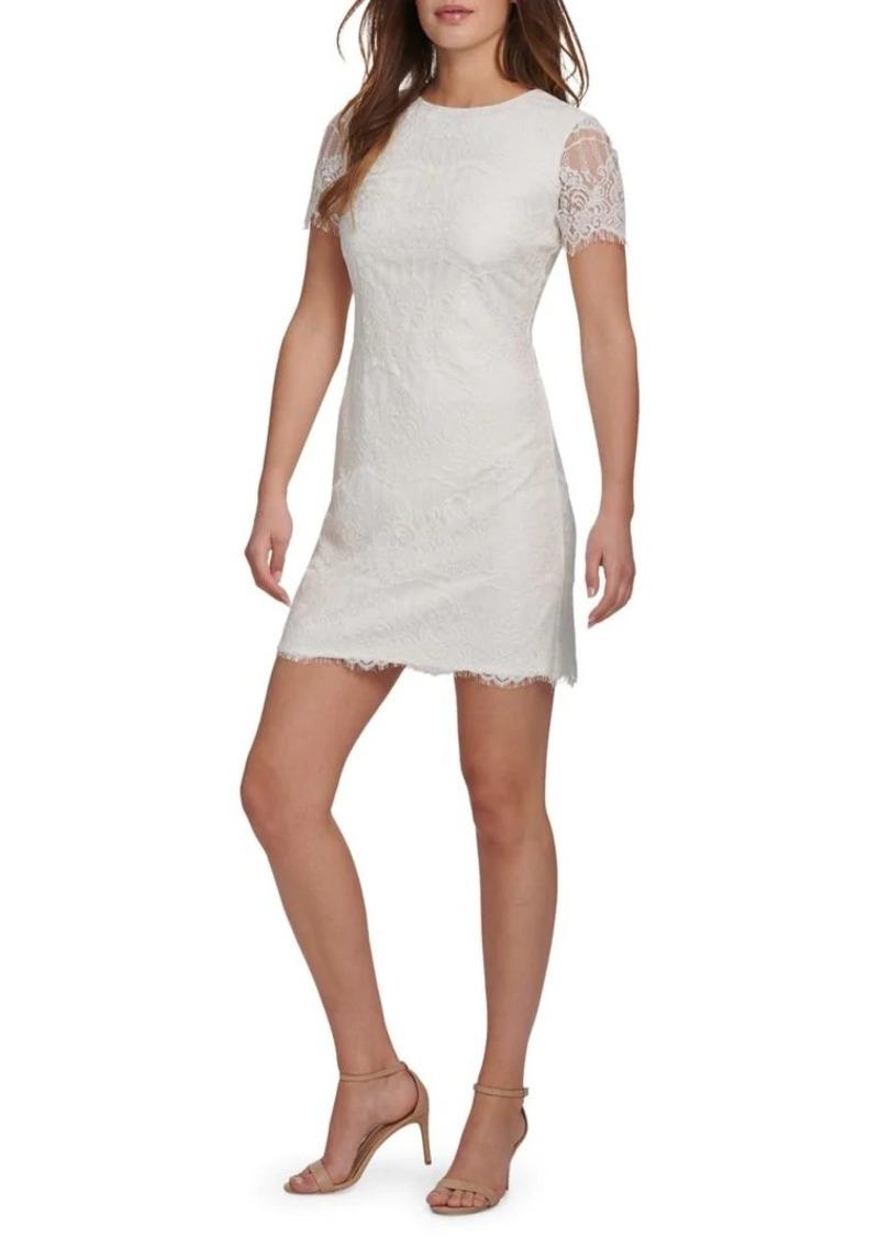 Kensie Short Sleeve Lace Sheath Dress