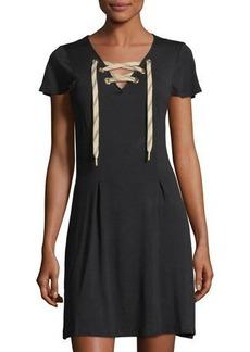 kensie Short-Sleeve Lace-Up Dress