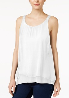 kensie Sleeveless Crochet-Trim Tank Top