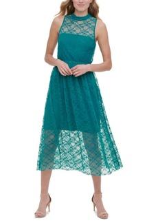 kensie Sleeveless Lace Midi Dress
