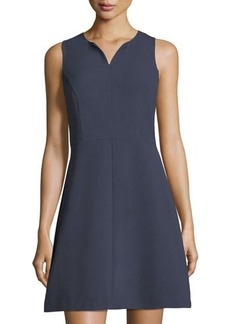 kensie sleeveless split-neck fit-and-flare crepe dress