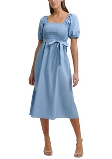 kensie Smocked Puff-Sleeve Midi Dress