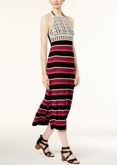 kensie Striped Crochet-Trim Dress