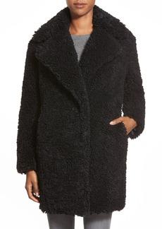kensie 'Teddy Bear' Notch Collar Faux Fur Coat (Online Only)