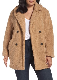 kensie Teddy Bear Notch Collar Faux Fur Coat (Plus Size)