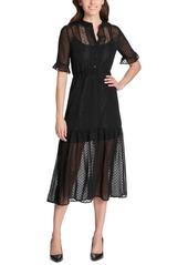 kensie Textured Illusion Midi Dress