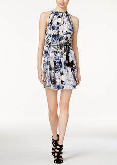 kensie Tropical Blues Keyhole Dress